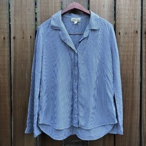 Cloth & Stone blu stripe button down bell sleeve s